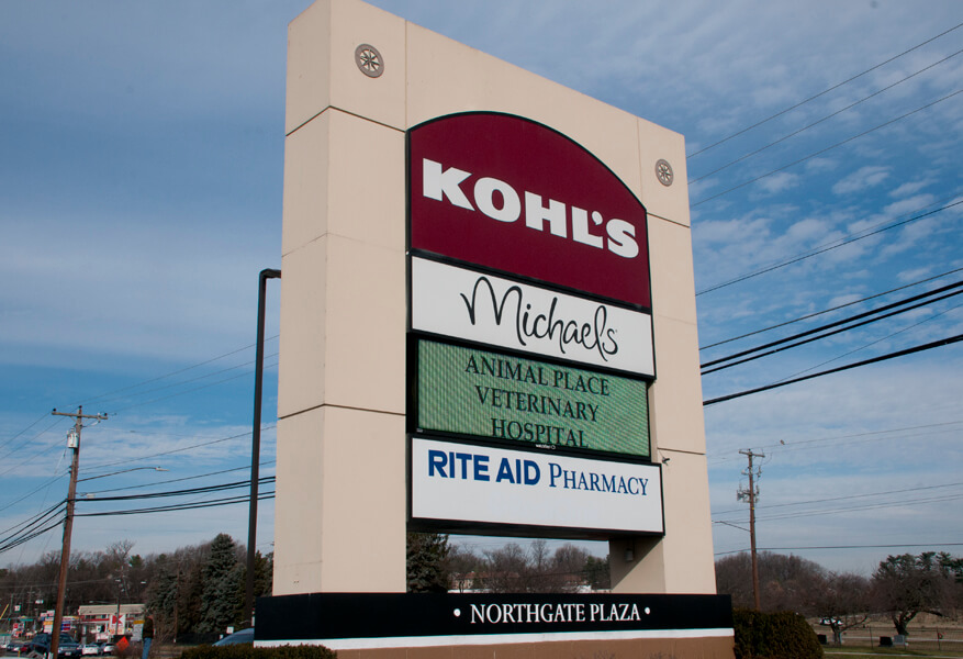 Northgate Plaza Mall sign with Kohls, Michaels, Animal Place Vet Hospital, Rite Aid