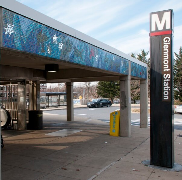 Glenmont Metro station sign and entrance
